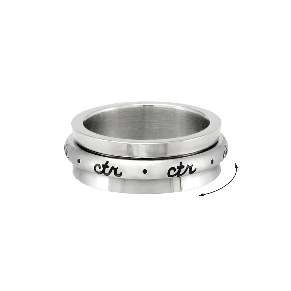 Spinner CTR Ring - Cursive  - stainless steel (engravable)