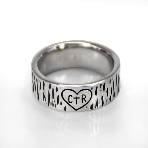Carved Heart Ring - stainless steel (engravable)