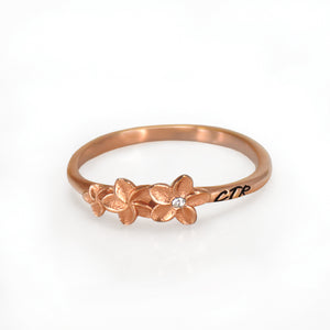 Plumeria CTR Ring - rose gold stainless steel
