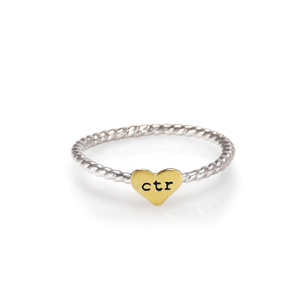 Heart Strings CTR Ring - Stainless Steel (gold tone heart)