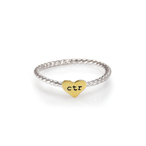 Heart Strings CTR Ring - gold tone heart - stainless steel
