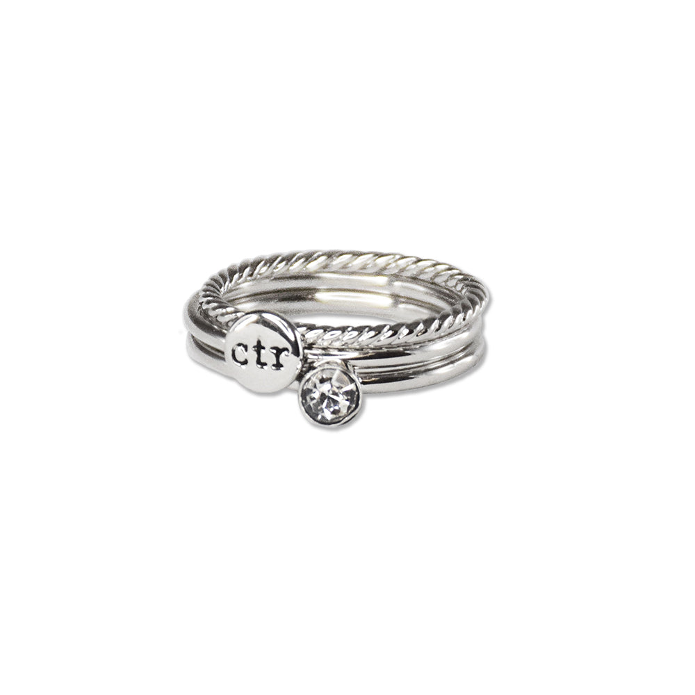 Stackable Shimmer CTR Ring - stainless steel