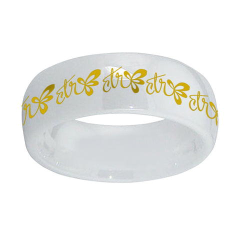 Halo CTR Ring - White Diamond Ceramic with Gold Inlay