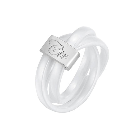 Avanti CTR Ring - Silver Tungsten & 3 Piece White Diamond Ceramic