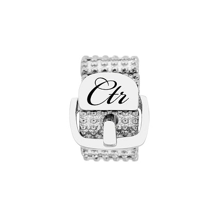 Sparkle Stretch Buckle CTR Ring - Stainless Steel