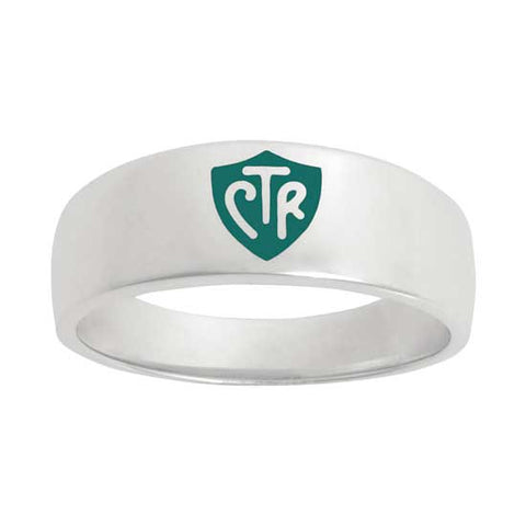 Classic WIDE Green CTR Ring - Sterling Silver
