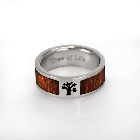Tree of Life Ring - stainless steel with wood inlay (engravable)
