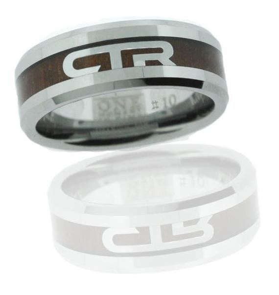 Duo CTR Ring - titanium with wood inlay