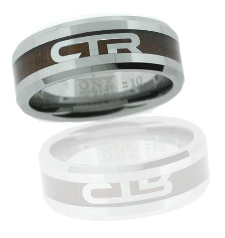 Duo CTR Ring - Titanium Ion Wood and Steel Inlay