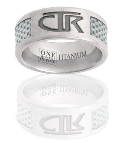 Titanium CTR Ring - Titanium with white carbon fiber inlay CTR ring