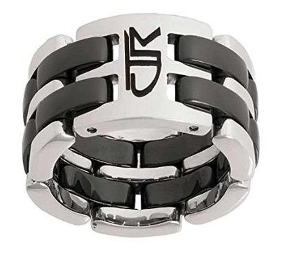 Fuzion Link Wide Black CTR Ring - Stainless Steel
