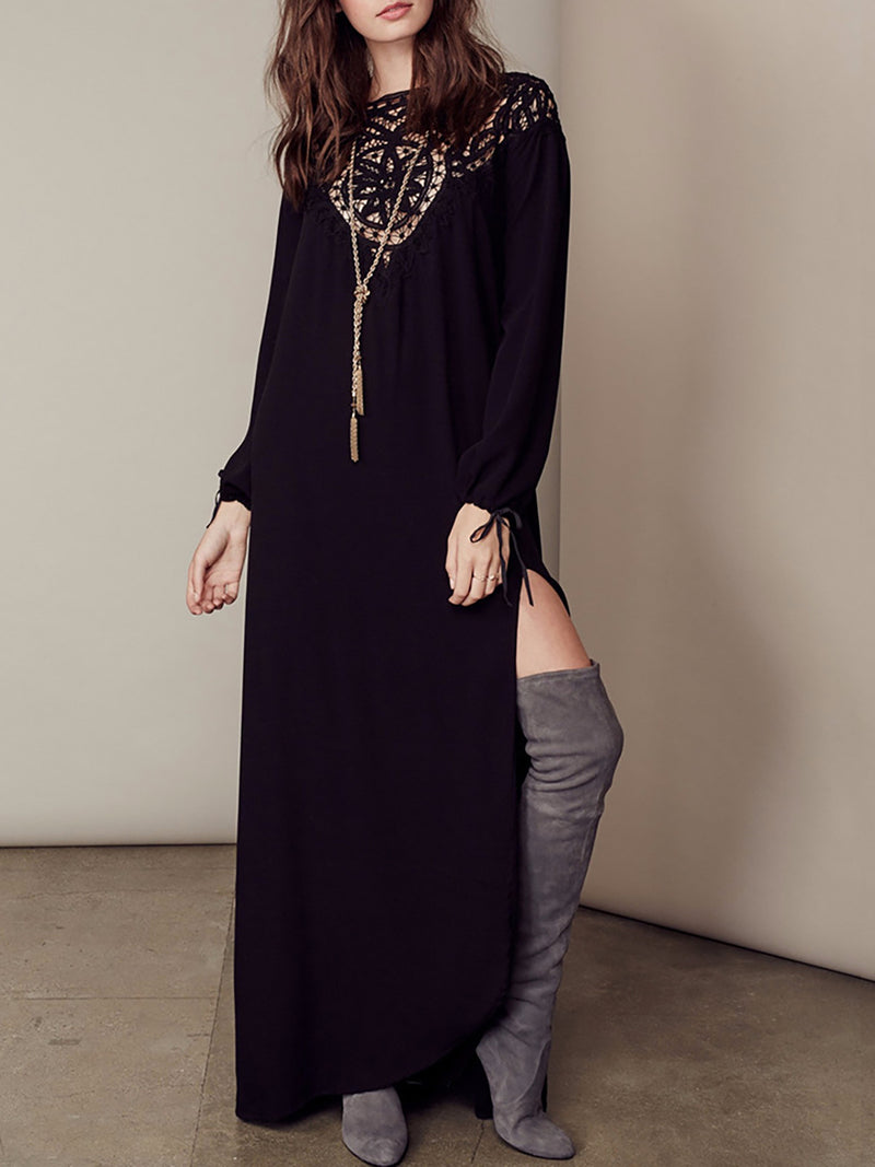 Slit Side Chiffon Casual Fall Dress