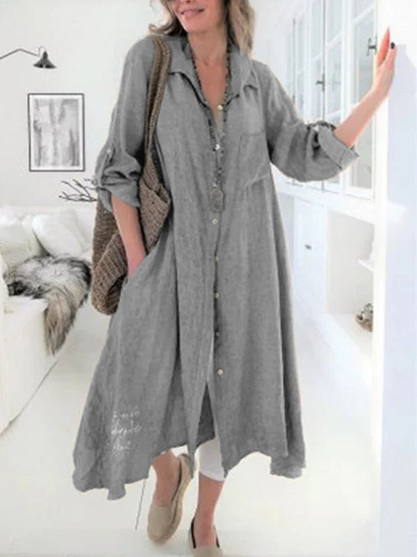 Women Solid V-Neck Loose Casual Linen Shirt Dress
