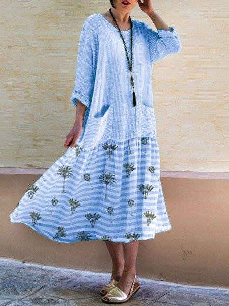 3/4 Sleeve Printed Leaf Crew Neck Plus Size Dresses