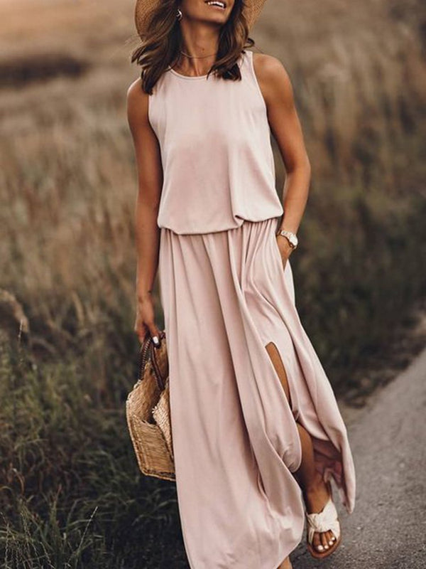 Women Boho Sleeveless Cotton-Blend Round Neck Maxi Dresses