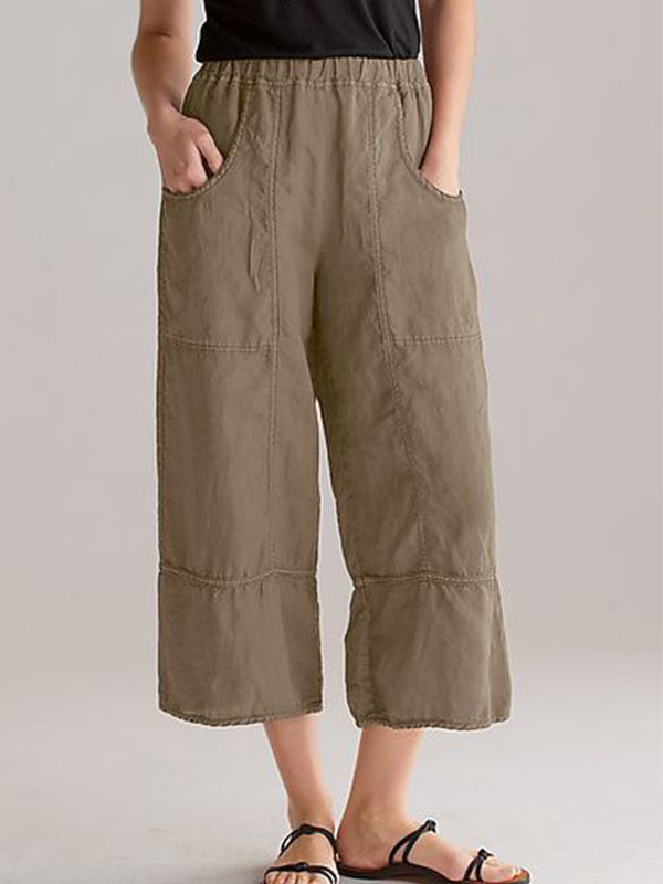 Pockets Simple Basic Solid Plus Size Pants