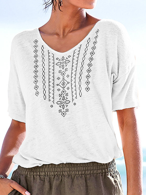 Boho Printed V Neck Plus Size T-Shirt