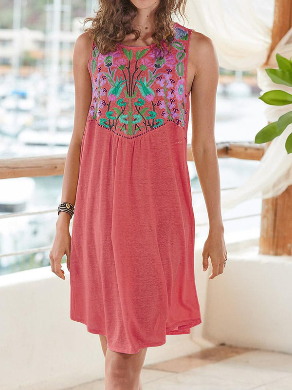 Floral Sleeveless Round Neck Dresses
