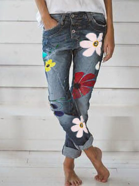Denim Floral Pants & Capris