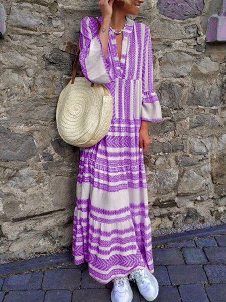 Pink Women Dresses Daily Printed Tribal Bell Sleeve V Neck Plus Size Maxi Dresses