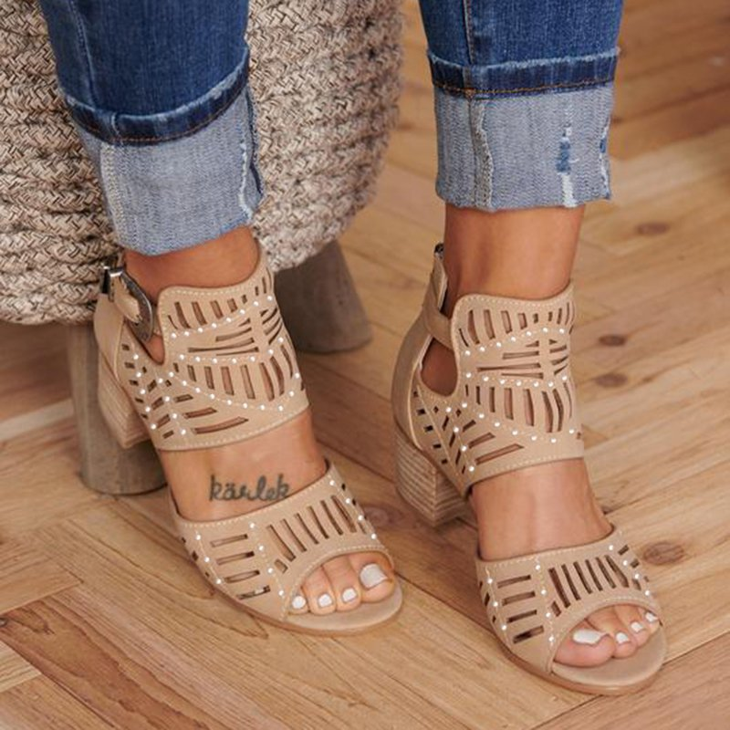 Casual Artificial Suede Chunky Heel Sandals