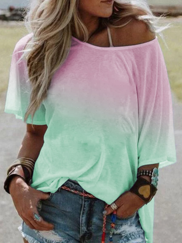 Casual Ombre/tie-Dye Short Sleeve Tops