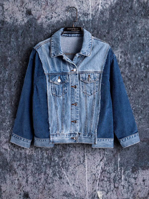 Colour-impact Stitching Casual Denim Jacket