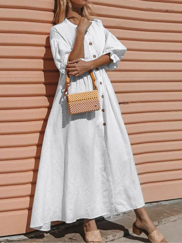 V Neck Women Casual Linen Maxi Dresses