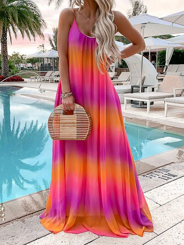 Women Sundresses Sleeveless Gradient Summer Plus Size Maxi Dresses