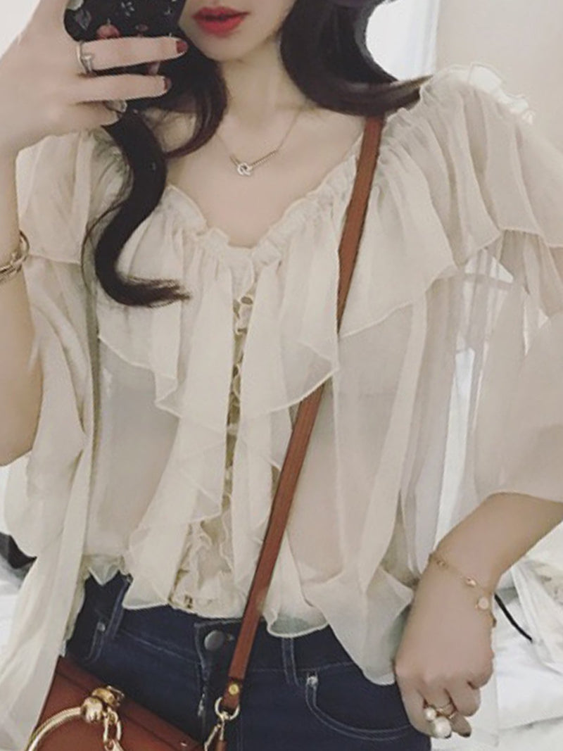 Ruffled Sweet & Cute V Neck Blouses
