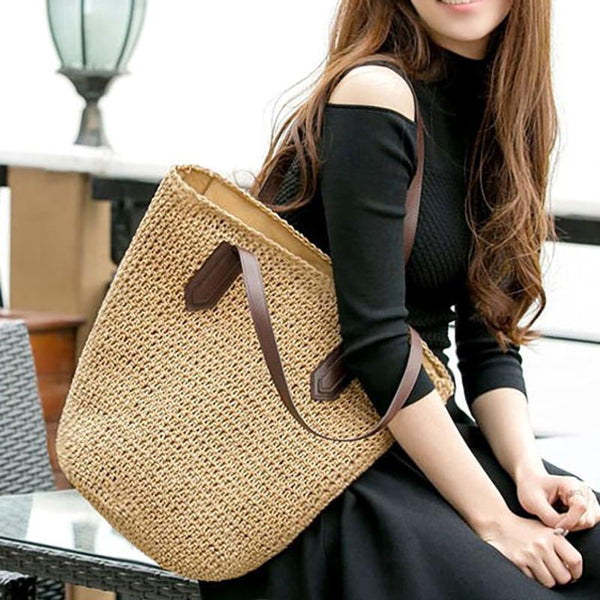 Ladies Handmade Straw Casual Zipper Straw Shoulder Bags