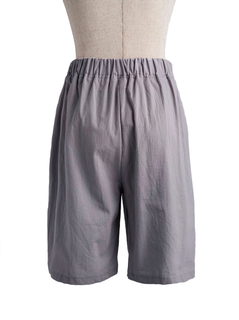 Buttoned Cotton-Blend Casual Shorts