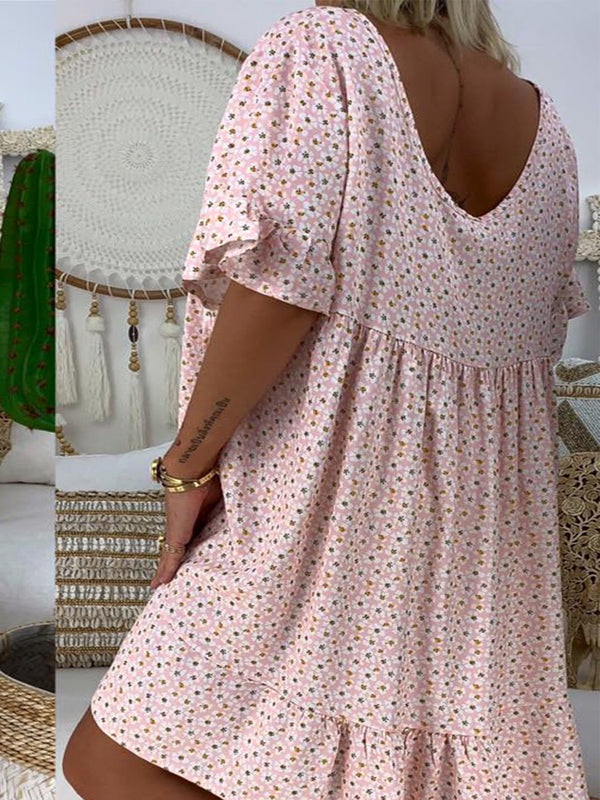Crew Neck Women A-Line Polka Dots Dress