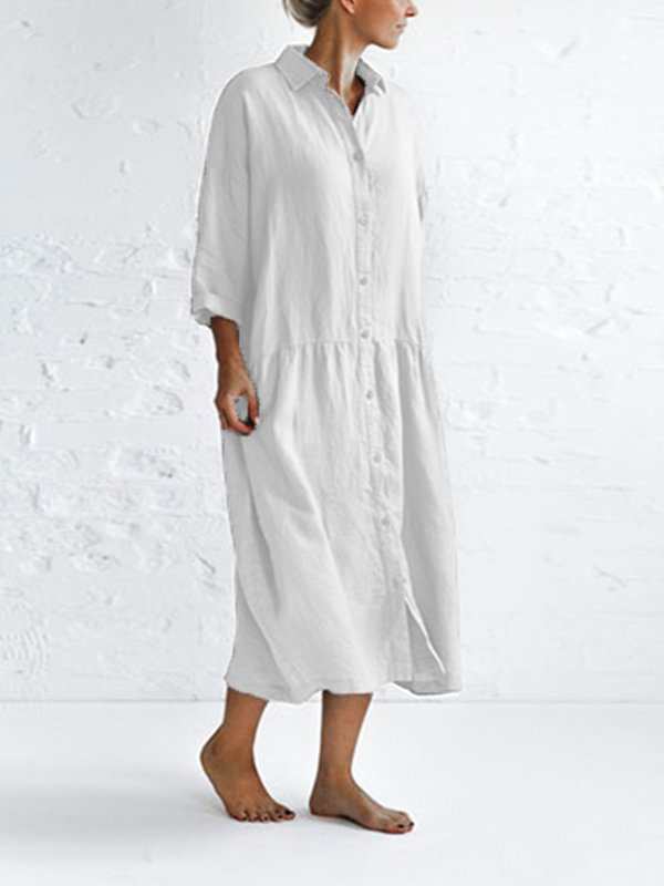 Casual 3/4 Sleeve Plus Size Maxi Dress
