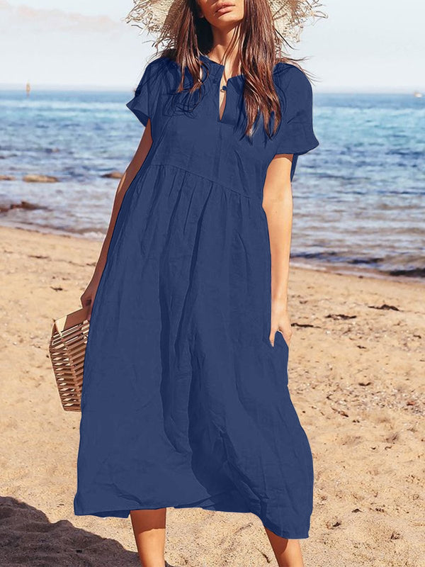 Women Plus Size Casual Short Sleeve Solid Maxi Dresses