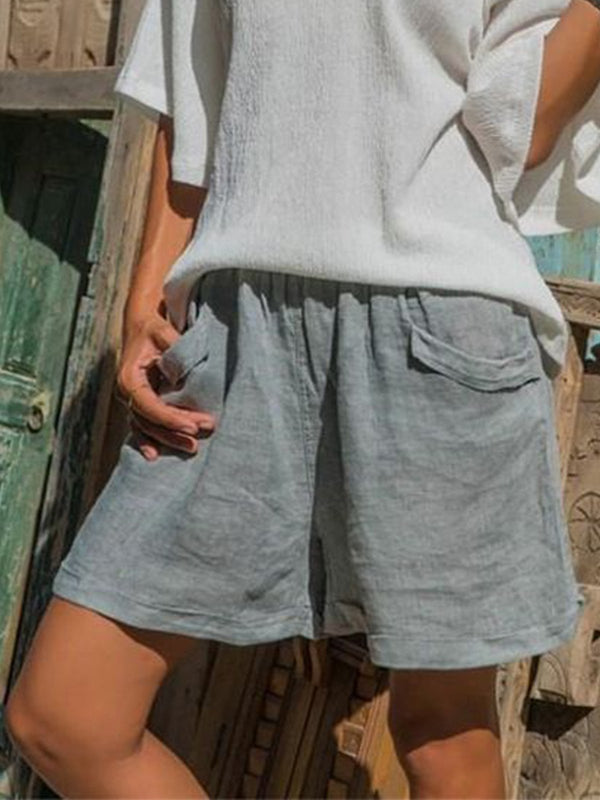 Women Pockets Cotton-Blend Solid Shorts