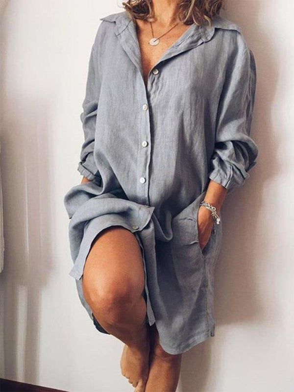 Women Casual V Neck Long Sleeve Solid Cotton-blend Dress