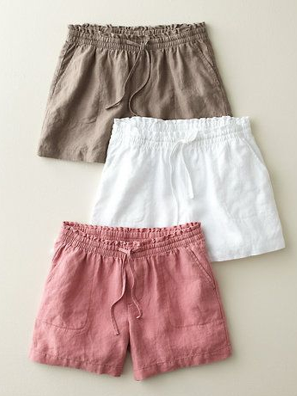 Solid Cotton-Blend Pockets Shorts