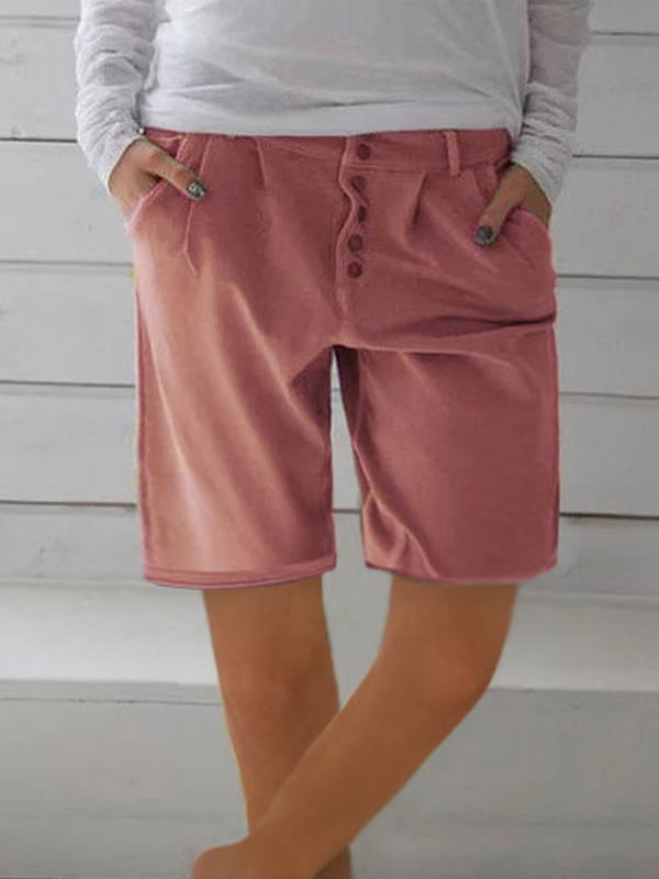 Women Casual Solid Cotton Shorts