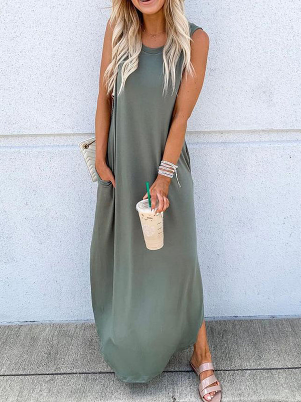Plus Size Solid Casual  Round Neck Sleeveless Maxi Dresses