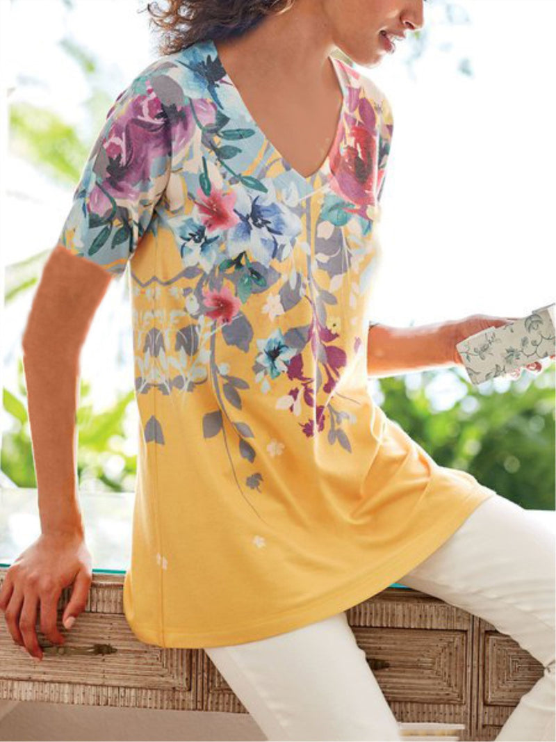 Women Floral Printed Crew Neck Short Sleeve Casual Shirt