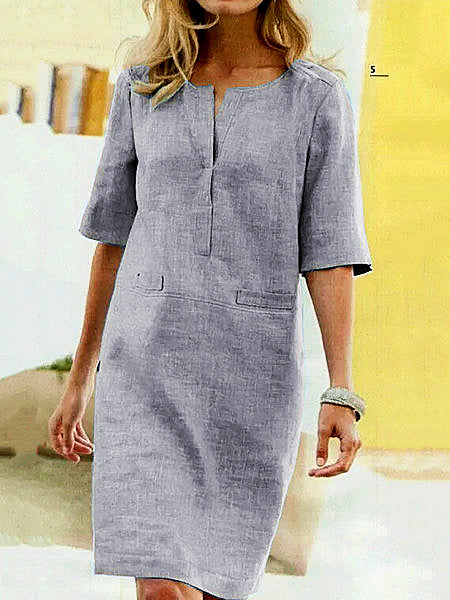 Casual Pockets Shift Half Sleeve Crew Neck Cotton Dresses