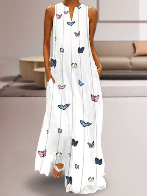 Women Butterfly Printed Sleeveless Maxi Shift Dress