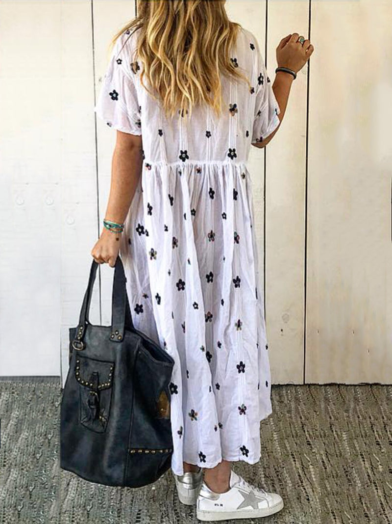 V Neck Women  A-Line Printed Floral Summer Maxi Dresses