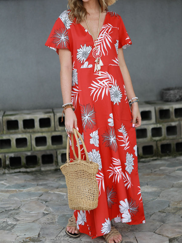 Women Floral Maxi Dresses V Neck Daily Printed Dresses