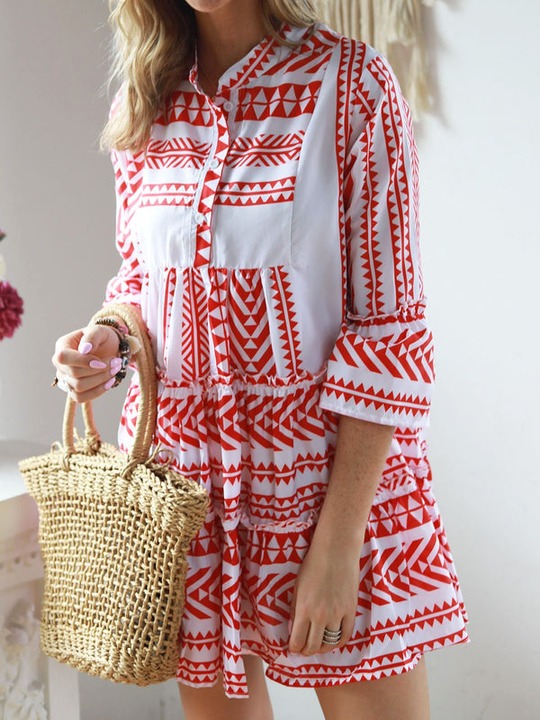 Women V Neck Casual Bell Sleeve Tribal Swing Dresses