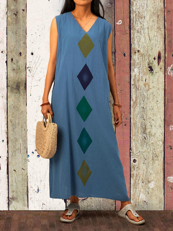 Blue Printed Sleeveless Geometric V Neck Boho Maxi Dresses