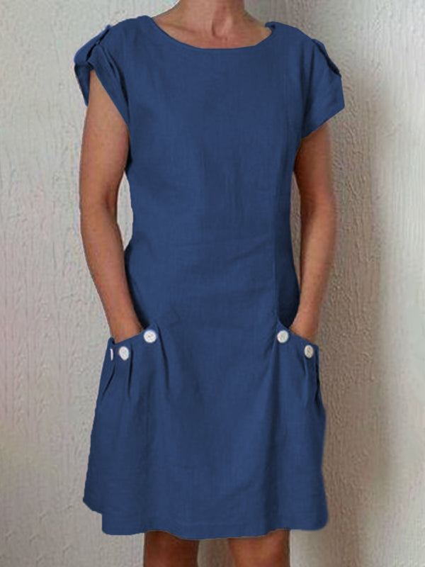 Women Short Sleeve Round Neck Cotton Solid Shift Plus Size Dresses
