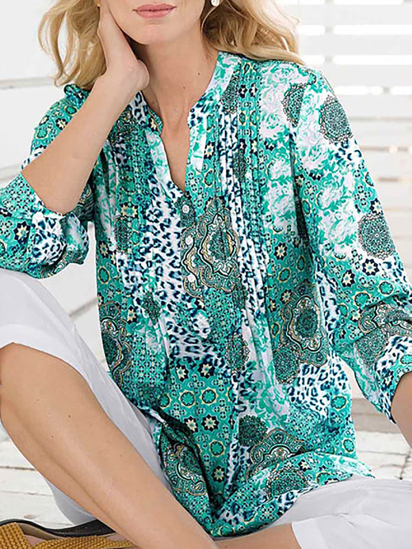 Abstract Printed V Neck Casual Plus Size Shirts