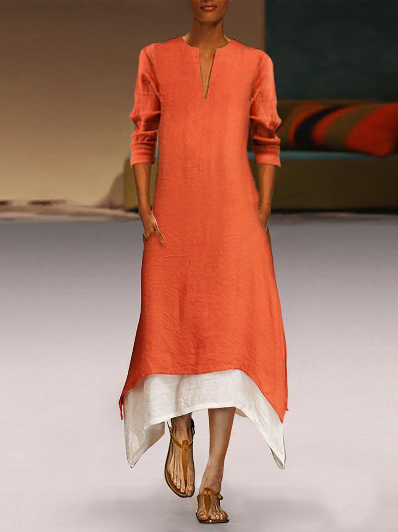 Women Long Sleeve Crew Neck Linen Elegant A-line Casual Plus Size Maxi Dress
